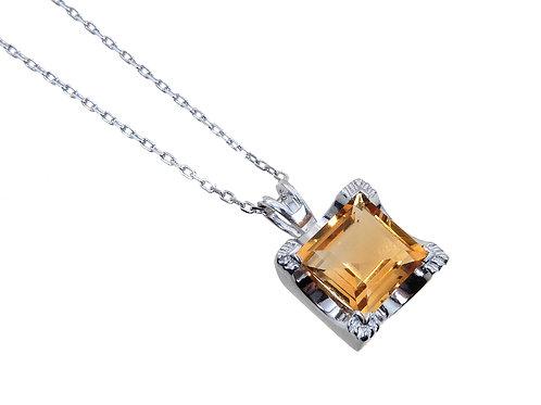 9ct White Gold Citrine Pendant & Chain