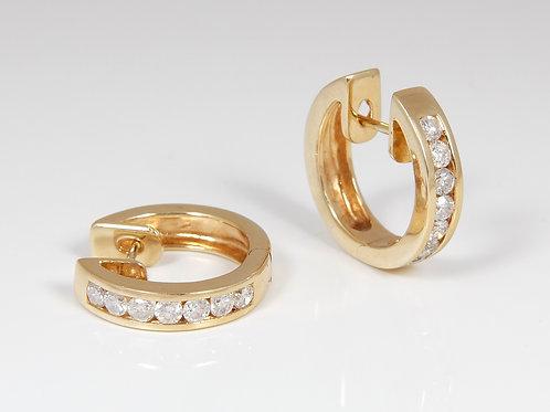 18ct Yellow Gold Diamond Hoop Earrings 0.60ct