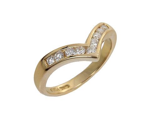 18ct Yellow Gold Diamond Wishbone Shaped Ring 0.27ct