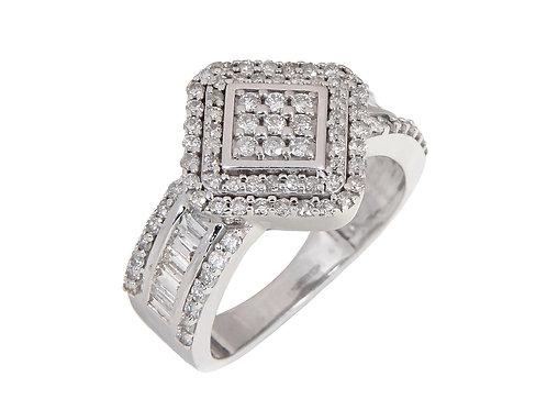 18ct White Gold Diamond Cluster Ring 1.00ct