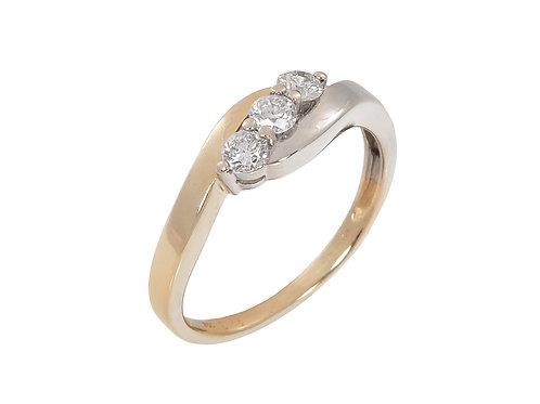 18ct White & Yellow Gold Diamond 3 stone Ring 0.33ct