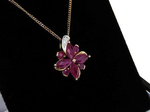 9ct Yellow Gold Ruby & Diamond  Pendant & chain