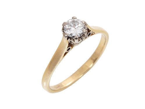 Vintage 18ct Yellow Gold Diamond Solitaire Ring 0.33ct