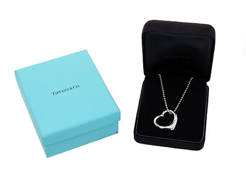Tiffany & Co Silver  Large Open Heart Pendant & Chain