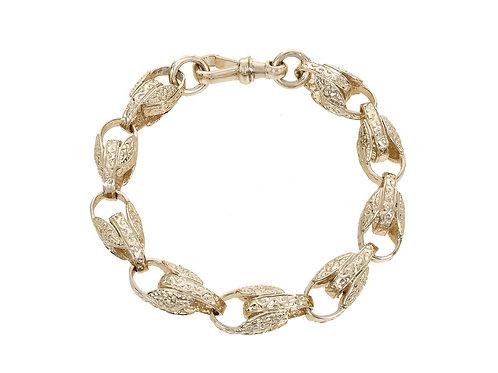 9ct Gold Patterned Tulip Bracelet 42.7g