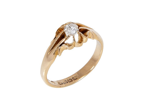 Gents Antique Diamond Solitaire Ring 18ct Yellow Gold