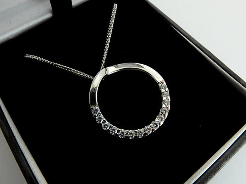 18ct White Gold & Diamond Circle of life Pendant