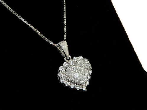 18ct White Gold Diamond Heart Pendant & Chain 1.06ct