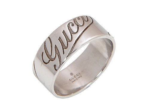 Gucci 18ct White Gold Logo Ring Uk Size U