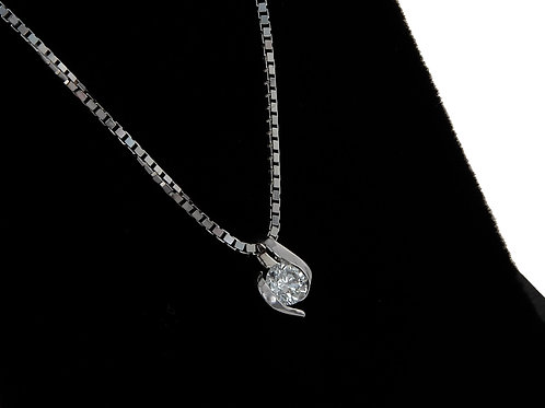 9ct White Gold Diamond Solitaire Pendant & Chain 0.25ct