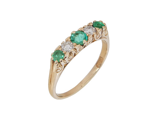 Vintage 18ct Yellow Gold Emerald & Diamond Ring 0.46ct Total