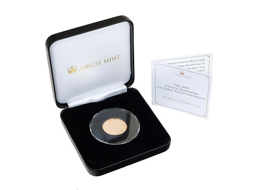 2019 Jubilee Mint 22ct Gold Sovereign Coin Boxed COA Royal Mint