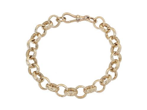 9ct Gold Plain and Patterned Belcher Bracelet 28g