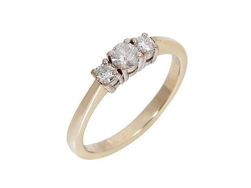 9ct Yellow Gold Diamond Trilogy Ring 0.29ct