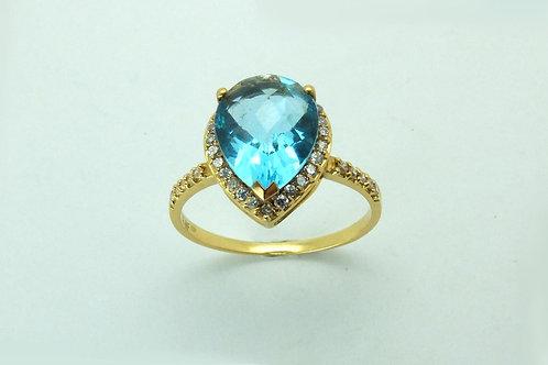 18ct Yellow Gold Diamond & Topaz Dress Ring