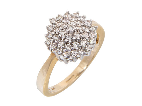9ct Yellow Gold Diamond Cluster Ring 1.00ct