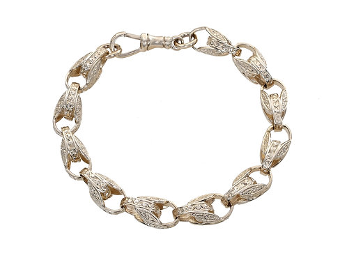 9ct Yellow Gold Patterned Tulip Bracelet 27.6g