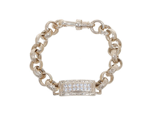 9ct Childrens CZ Tag Plain & Patterned Belcher Bracelet 16.1g