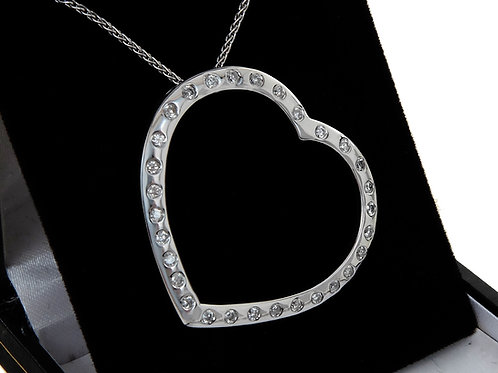 18ct White Gold Large Diamond Heart Pendant &  Chain