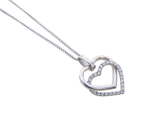 9ct White Gold Double Heart Diamond Pendant & Chain