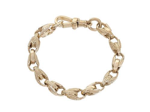 9ct Gold Childrens Plain and Patterned Tulip Bracelet 14.3g