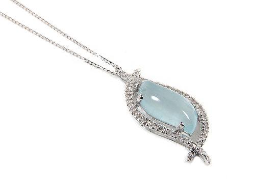 9ct White Gold Diamond & Blue Moonstone Pendant & Chain