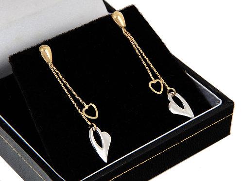 9ct White & Yellow Dropper Earrings
