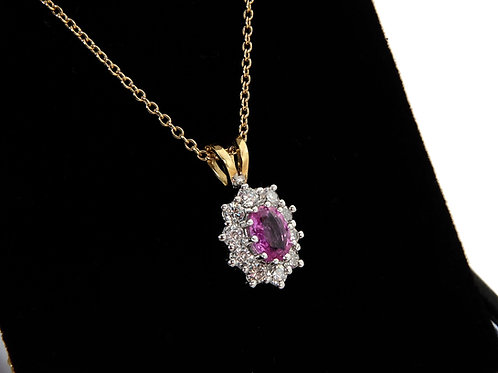18ct Yellow Gold Diamond & Pink Sapphire Pendant & Chain  0.90ct Total