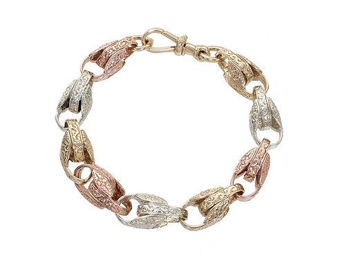 9ct Tri-Gold Patterned Tulip Bracelet 45.6g