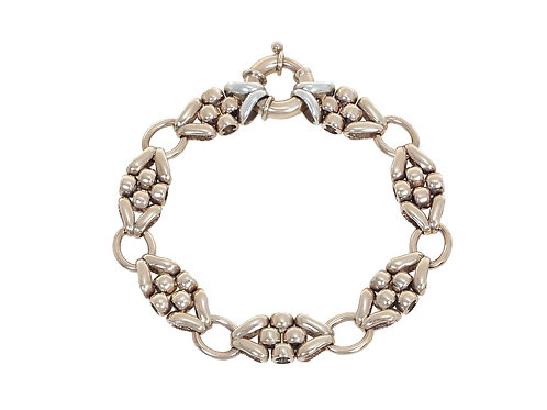 9ct Yellow and White Gold Fancy Link Bracelet 25g