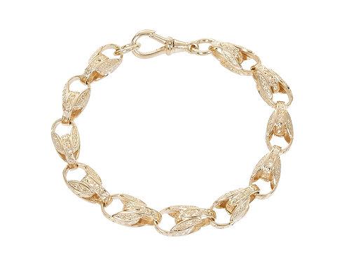 9ct Gold Patterned Tulip Bracelet 26.7g