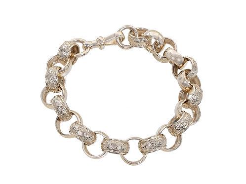 9ct Plain and Patterned Belcher Bracelet 64g