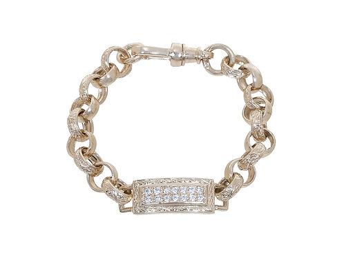 9ct Childrens CZ Tag Plain & Patterned Belcher Bracelet 15.5g