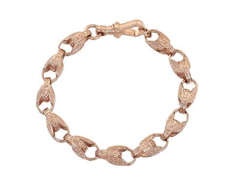 9ct Rose Gold Patterned Tulip Bracelet 29g
