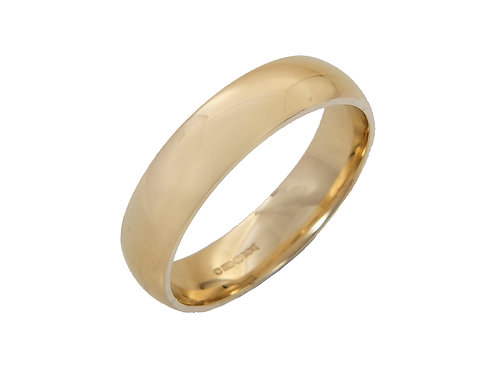 Mens 18ct Yellow Gold Wedding Ring Uk Size Q Width 5mm