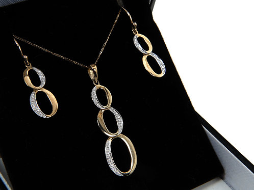 9ct Gold & Diamond Earring & Necklace Set