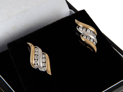 14ct Yellow & White Gold Diamond Earrings 0.50ct