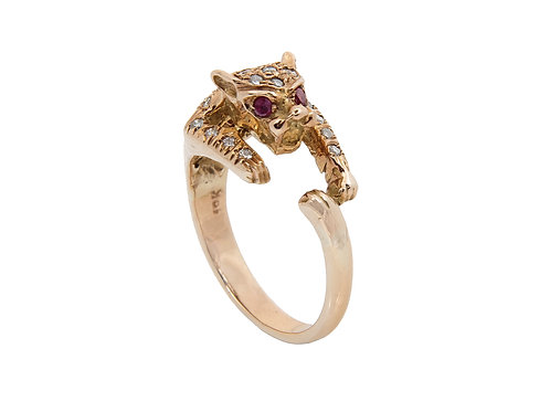 18ct Yellow Gold Leopard Diamond & Ruby Ring