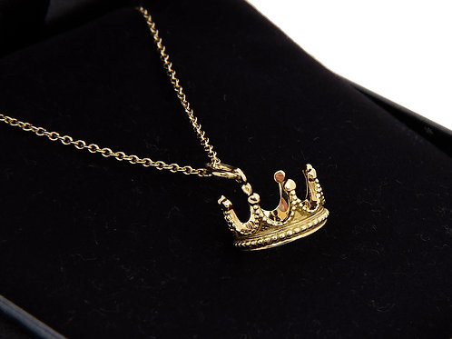Tiffany & Co Princess Crown  Pendant & Chain 18ct Yellow Gold
