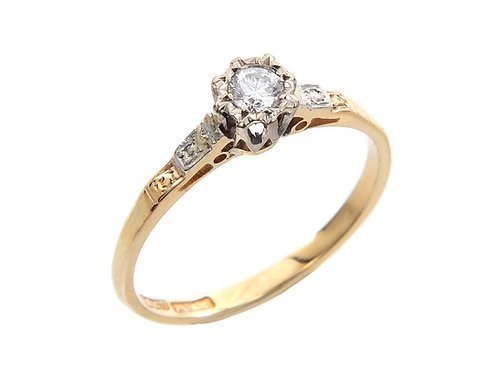 Vintage 18ct Yellow Gold & Platinum Diamond Solitaire ring