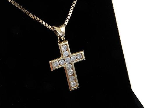 18ct Yellow Gold Diamond Cross & Chain 0.33ct