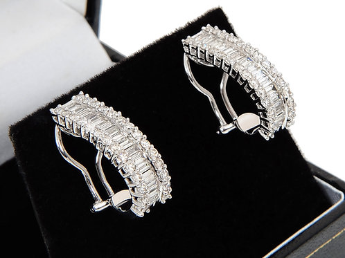 18ct White Gold Diamond Hoop Earrings 2.43ct