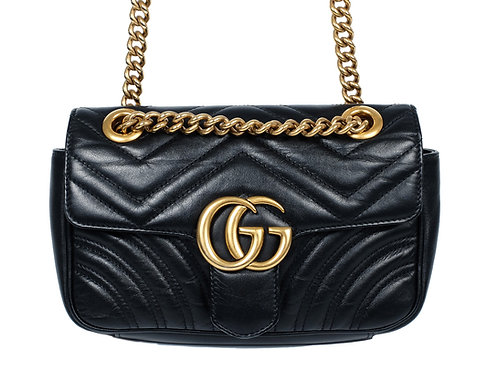 Gucci Marmont Matelasse in Aged Black Leather Mini