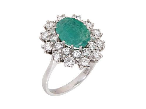 18ct White Gold Large Emerald & Diamond Ring