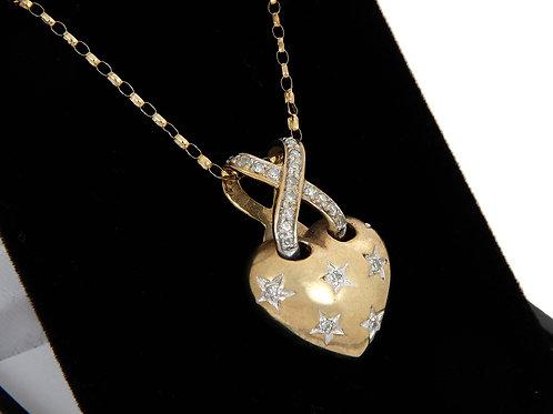 9ct Yellow Gold Heart & Diamond Pendant & Chain