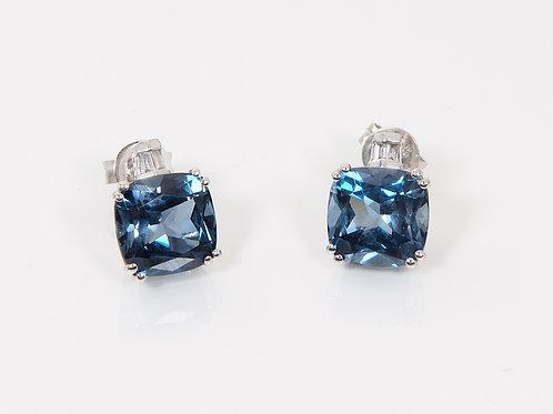 9ct White Gold Dark Blue Topaz & Diamond Earrings