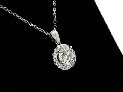 18ct White Gold Diamond Halo Pendant & chain 1.20ct