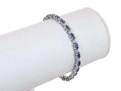 18ct White Gold Tanzanite & Diamond Tennis bracelet 6.76ct
