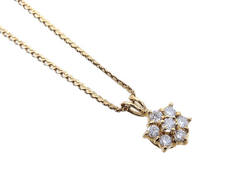 18ct Yellow Gold Diamond Flower Cluster Pendant & Chain 0.50ct