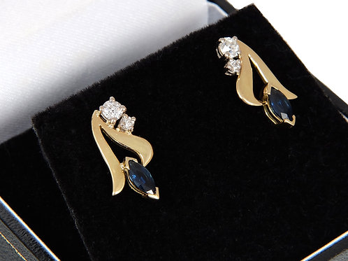 18ct Yellow Gold Sapphire & Diamond Earrings